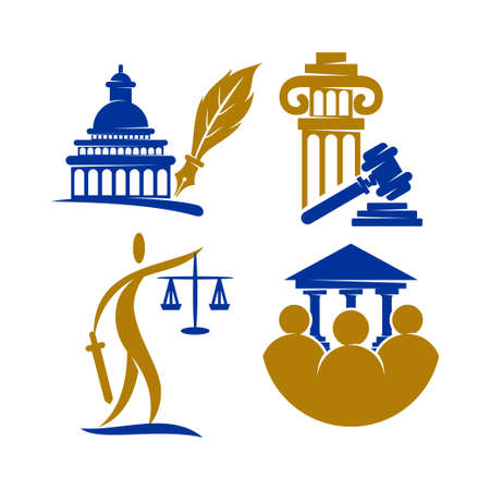 Law Justice Firm   Design Vector icon template Set Illustration