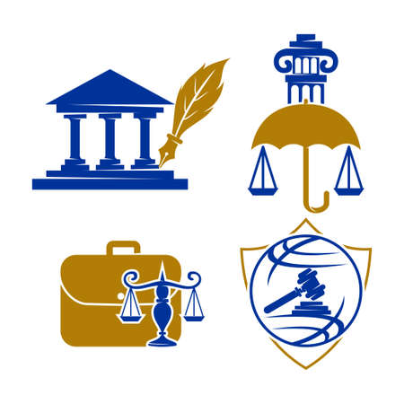 Law Justice Firm   Design Vector icon template Set Vettoriali