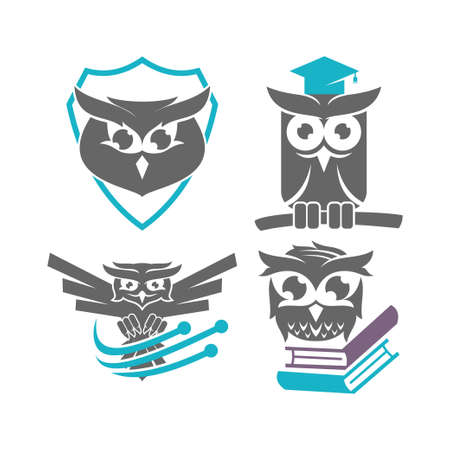 Owl Logo Design Vector Template Set
