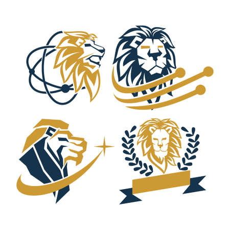 Lion Head Logo Design Symbol Illustration Template Vector Set