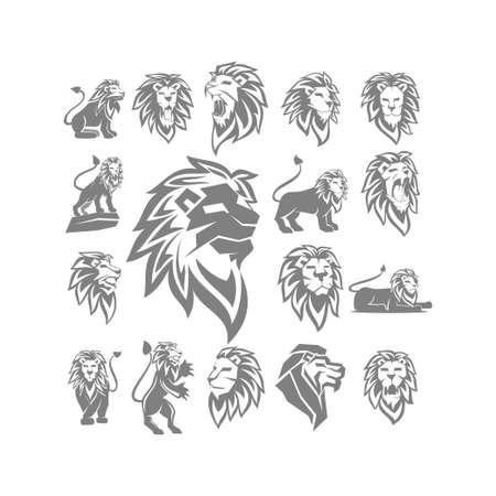 Lion Logo Design Symbol Illustration Template Vector Set 일러스트