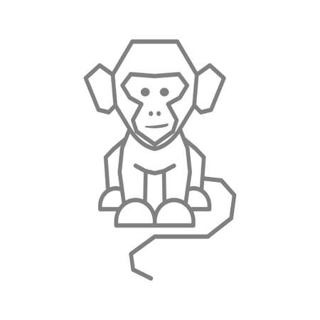 Monkey Logo Design Template Vector Illustration Isolated Иллюстрация