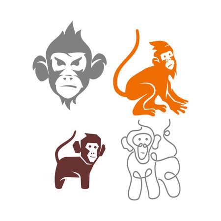 Monkey Logo Design Template Vector Illustration Set