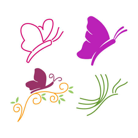 Butterfly Logo Design Template Vector Illustration icon Set