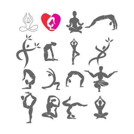 Yoga   design emblem meditation vector illustration set Archivio Fotografico - 134857910