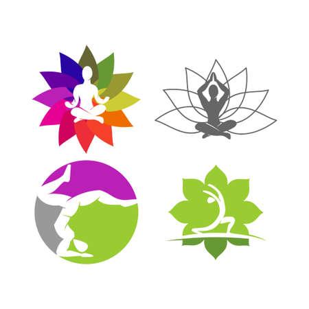 Yoga   design emblem meditation vector illustration set Archivio Fotografico - 134857909