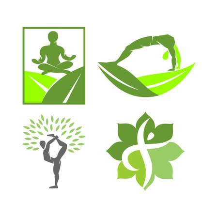 Yoga   design emblem meditation vector illustration set Illustration