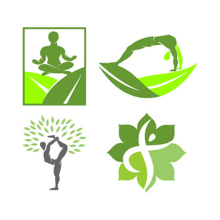 Yoga   design emblem meditation vector illustration set 向量圖像