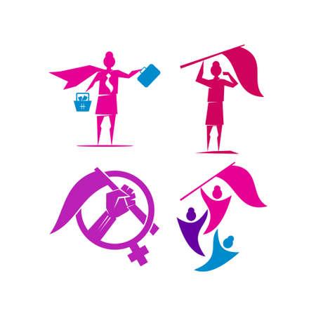 Woman power   vector illustration icon symbol Set Ilustrace