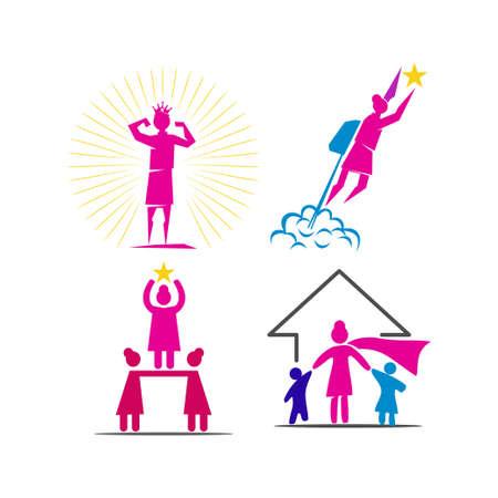 Woman power   vector illustration icon symbol Set 向量圖像