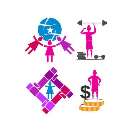 Woman power World Money   vector illustration icon symbol Set