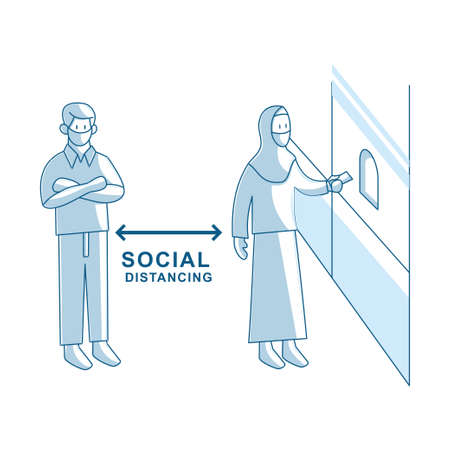 Social distancing avoid crowds template Illustration
