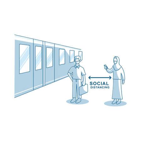 Social distancing avoid crowds template Illustration Zdjęcie Seryjne - 151470005