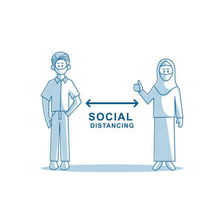 Social distancing avoid crowds template Illustration Zdjęcie Seryjne - 151470011