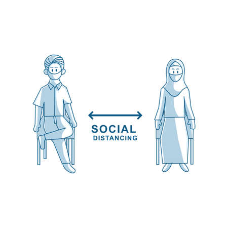 Social distancing avoid crowds template Illustration Zdjęcie Seryjne - 151470012