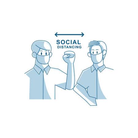 Social distancing avoid crowds template Illustration Ilustración de vector