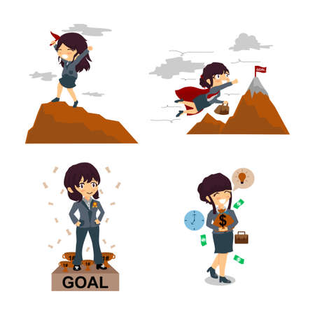 Business Woman Success Illustration Vettoriali