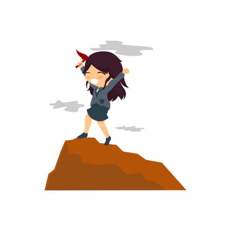 Businesswoman Hoisted Red Flag on Mountain Top Vector Vettoriali