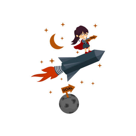 Business woman riding rocket across the earth Illustration