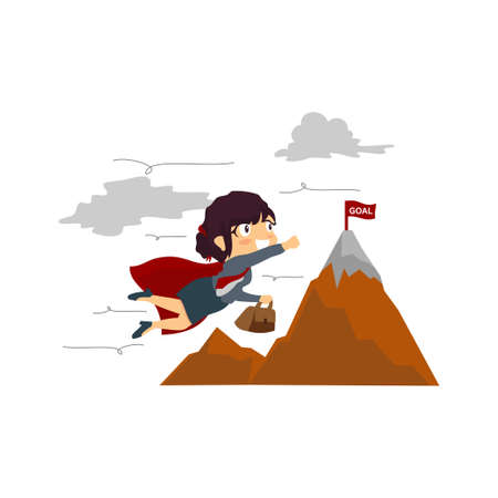 Office superwoman flying to achieve her goal Illustration Vettoriali