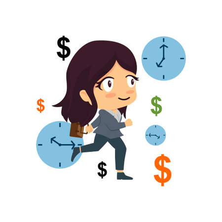 Time Is Money Business Woman Concept Illustration Vettoriali