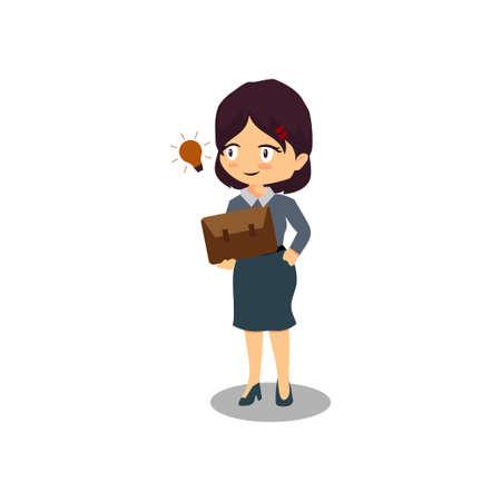 Cartoon businesswoman with shiny idea bulb Illustration