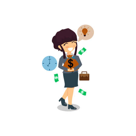 Businesswoman Hold Money with time and bulb Illustration Ilustração