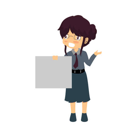 Businesswoman With Blank White Boards Vector