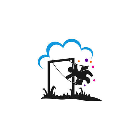 Kid sitting on swing.template Illustration