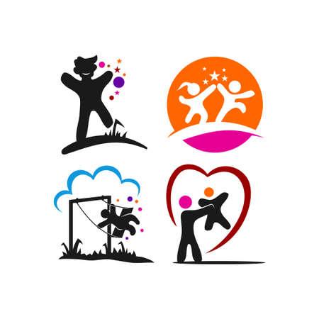 Kids Care Illustration template Set