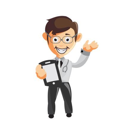 Doctor Man characters hospital medicine staff clothes illustration Hold Phone Vektorové ilustrace