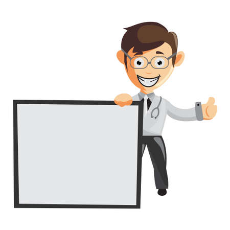 Doctor Man characters hospital medicine staff clothes illustration with Blank Board Ilustracja