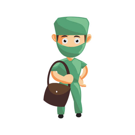 Nurse Man hospital character clothes healthcare mascot Bring Bag