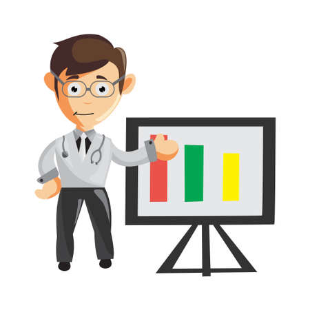 Doctor Man characters hospital medicine staff clothes illustration show Chart table graphic Ilustracja