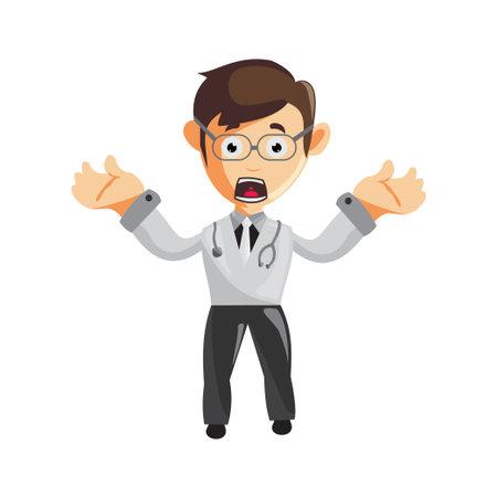 Doctor Man characters hospital medicine staff clothes illustration confused Ilustracja