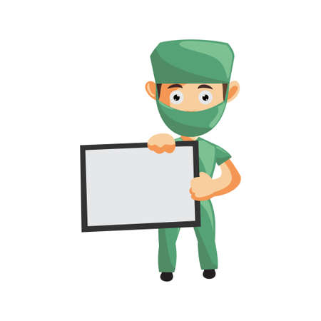 Nurse Man hospital character clothes healthcare mascot With Blank Board Ilustracja