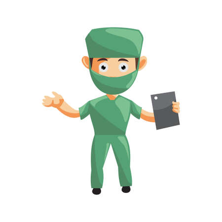 Nurse Man hospital character clothes healthcare mascot Hold Phone Tablet  イラスト・ベクター素材