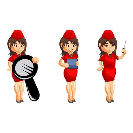 Flying attendants air hostess Profession stewardess cartoon character illustration