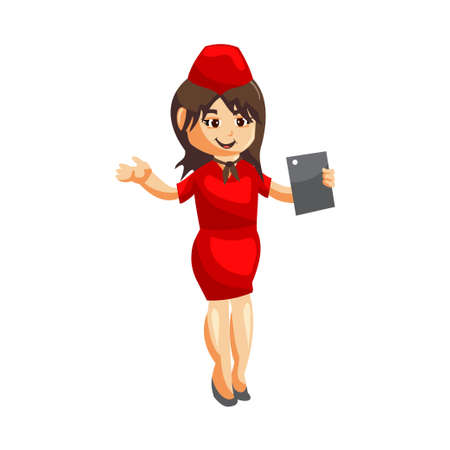 Flying attendants air hostess Profession stewardess Holding Tablet Phone cartoon character illustration