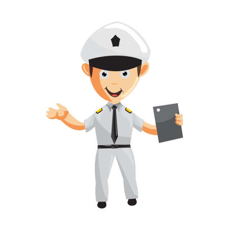 Airplane Pilot Holding tablet phone Cartoon Character Aircraft Captain in Uniform
