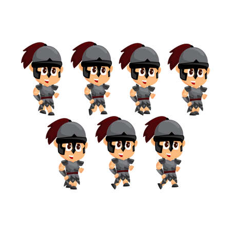 Spartan Cartoon Game Character Animation Sprite Template