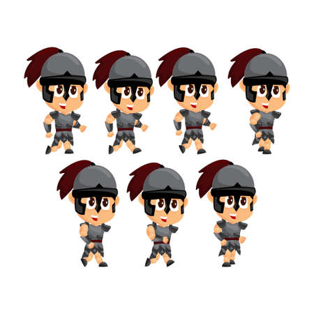 Spartan Cartoon Run Game Character Animation Sprite Template