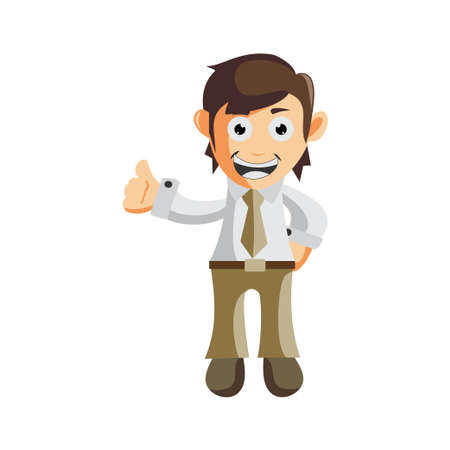 Business man Thumb up cartoon character Illustration design creation Isolated