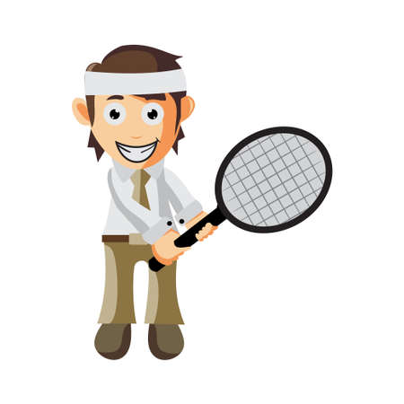 Business man holding tennis court racket cartoon character Illustration design creation Isolated Ilustracja