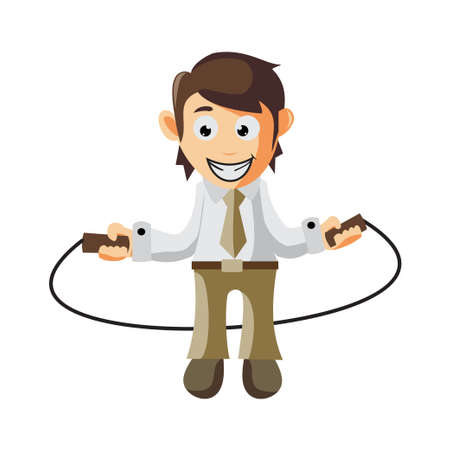 Business man holding rope hopper cartoon character Illustration design creation Isolated