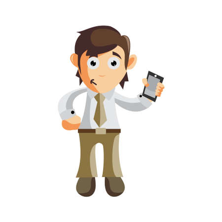 Business man Holding Phone cartoon character Illustration design creation Isolated