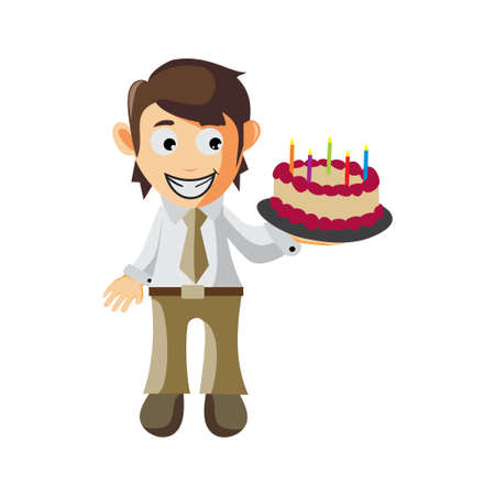 Business man Bring Cake Birthday cartoon character Illustration design creation Isolated