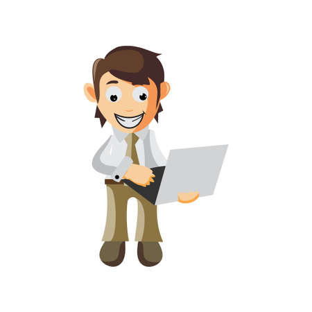 Business man Bring Laptop cartoon character Illustration design creation Isolated