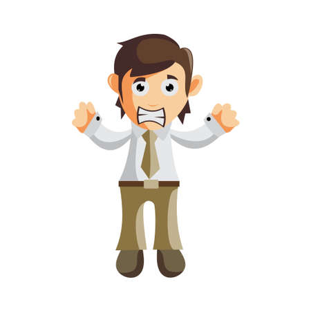 Business man Angry cartoon character Illustration design creation Isolated Ilustracja