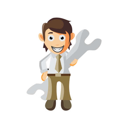 Business man Holding wrench cartoon character Illustration design creation Isolated Ilustracja